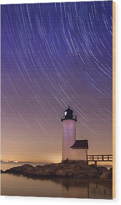 Wood Print featuring the photograph Stars Trailing Over Lighthouse by Jeff Folger