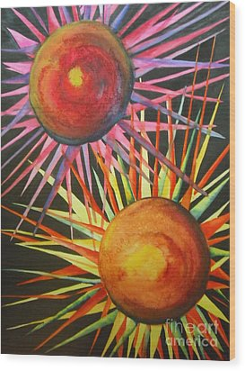 Wood Print featuring the painting Stars With Colors by Chrisann Ellis