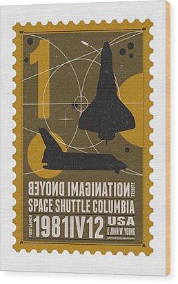 Starschips 01-poststamp - Spaceshuttle Wood Print by Chungkong Art