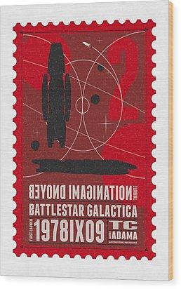 Starschips 02-poststamp - Battlestar Galactica Wood Print by Chungkong Art