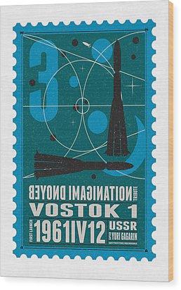 Starschips 03-poststamp - Vostok Wood Print by Chungkong Art