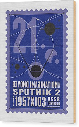 Starschips 21- Poststamp - Sputnik 2 Wood Print by Chungkong Art