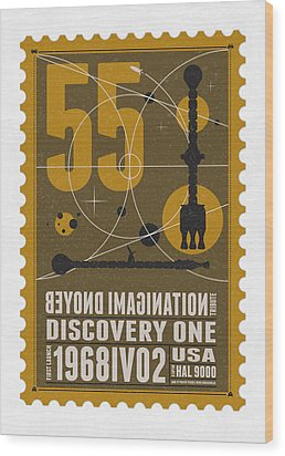 Starschips 55-poststamp -discovery One Wood Print by Chungkong Art