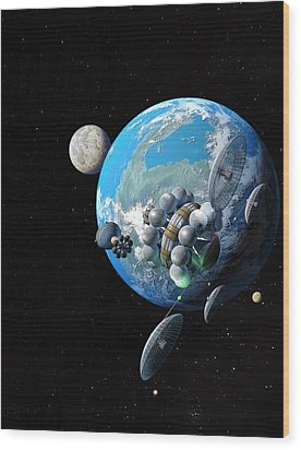 Starship At Alpha Centauri Wood Print by Don Dixon