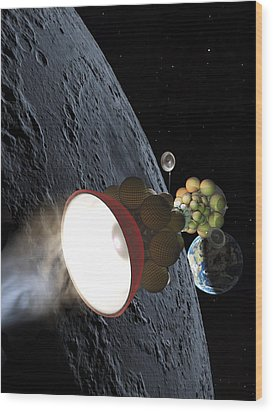Starship Departing From Lunar Orbit Wood Print by Don Dixon