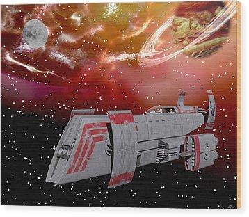Starship Wonder Wood Print by Michele Wilson