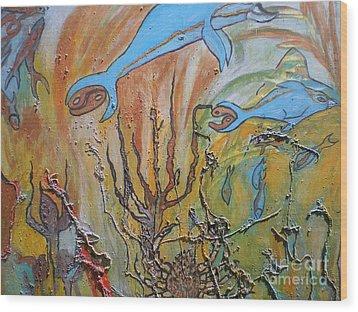 Starsign Cancer Wood Print by Ann Fellows