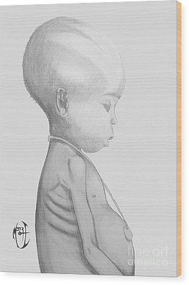 Wood Print featuring the drawing Starved African Girl by Justin Moore