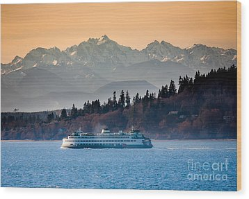 State Ferry And The Olympics Wood Print by Inge Johnsson