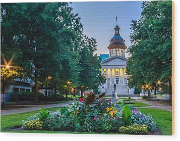 State House Garden Wood Print by Rob Sellers