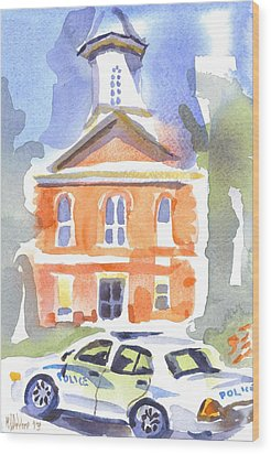 Stately Courthouse With Police Car Wood Print by Kip DeVore