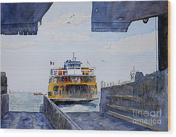 Staten Island Ferry Docking Wood Print by Anthony Butera