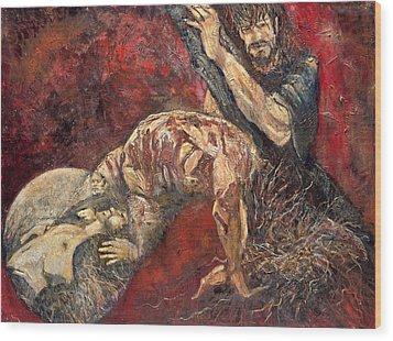 Station V Simon Of Cyrene Helps Jesus Carry His Cross Wood Print
