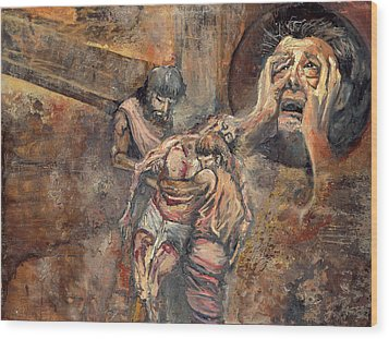 Station Xiii The Body Of Jesus Is Taken Down From The Cross Wood Print