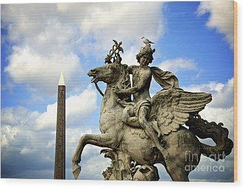 Statue . Place De La Concorde. Paris. France Wood Print by Bernard Jaubert