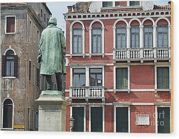 Statue And Building Facade Wood Print by Sami Sarkis