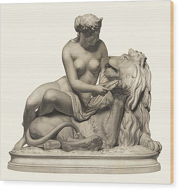 Statue Woman And Lion Wood Print by Private Collection