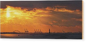 Statue Of Liberty At Sunset. Wood Print