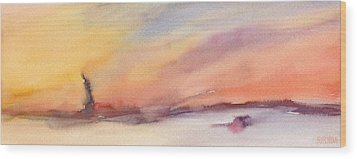 Statue Of Liberty At Sunset Watercolor Painting Of New York Wood Print by Beverly Brown Prints
