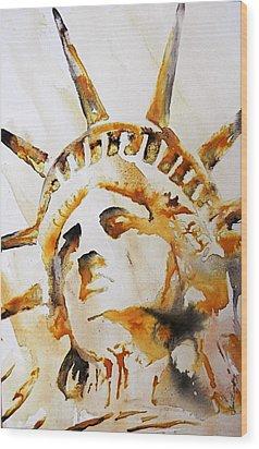 Statue Of Liberty Closeup Wood Print by J- J- Espinoza
