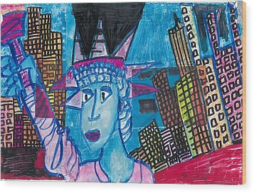Statue Of Liberty Wood Print by Don Koester