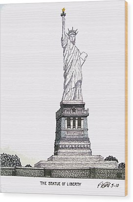Statue Of Liberty Wood Print by Frederic Kohli