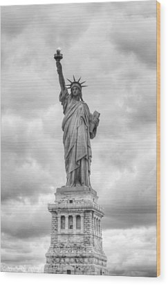 Wood Print featuring the photograph Statue Of Liberty Full by Dave Beckerman