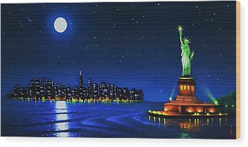 Statue Of Liberty In The Ny Horbor Wood Print