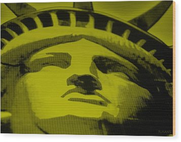 Statue Of Liberty In Yellow Wood Print by Rob Hans