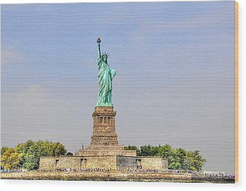 Statue Of Liberty Macro View Wood Print by Randy Aveille