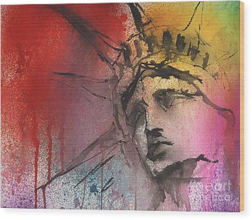 Statue Of Liberty New York Painting Wood Print
