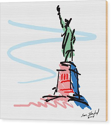 Statue Of Liberty Wood Print by Sam Shacked