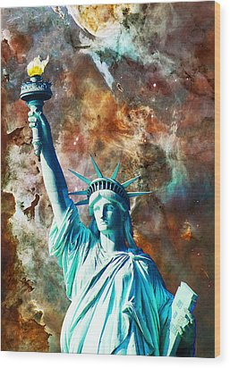 Statue Of Liberty - She Stands Wood Print by Sharon Cummings