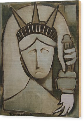 Tommervik Abstract Statue Of Liberty Art Print Wood Print