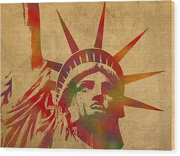 Statue Of Liberty Watercolor Portrait No 2 Wood Print by Design Turnpike