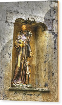 Statue Of Saint Francis Of Assisi - Alcove In The Gardens Of The Carmel Mission Wood Print by Michael Mazaika