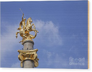 Statue Of St George And The Dragon In Tbilisi Wood Print by Robert Preston