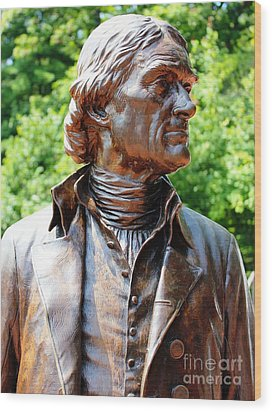Statue Of Thomas Jefferson Wood Print by Judy Palkimas