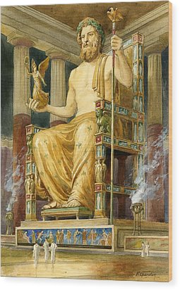 Statue Of Zeus At Oympia Wood Print by English School