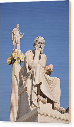 Statues Of Socrates And Apollo Wood Print