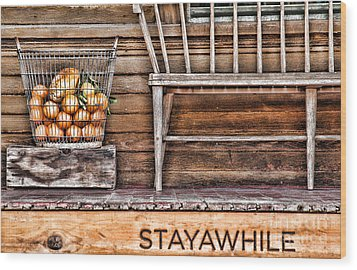 Stayawhile Wood Print by Diana Sainz