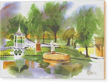 Ste Marie Du Lac In Watercolor II Wood Print by Kip DeVore