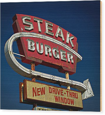 Wood Print featuring the photograph Steak Burger by Bud Simpson