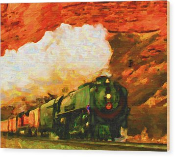 Wood Print featuring the digital art Steam And Sandstone by Chuck Mountain