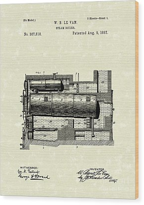 Steam Boiler 1887 Patent Art Wood Print by Prior Art Design