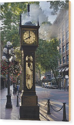 Steam Clock At Gastown Vancouver In The Morning Wood Print by JPLDesigns