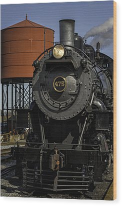 Steam Engine #475 Pulling Into The Strasburg Rr Station  01 Wood Print by Mark Serfass