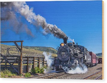 Steam Engine Relic Wood Print