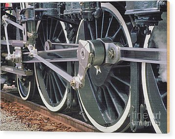 Steam Locomotive Coupling Rod And Driver Wheels Wood Print by Wernher Krutein