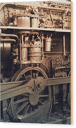 Steam Locomotive Train Detail Sepia Wood Print